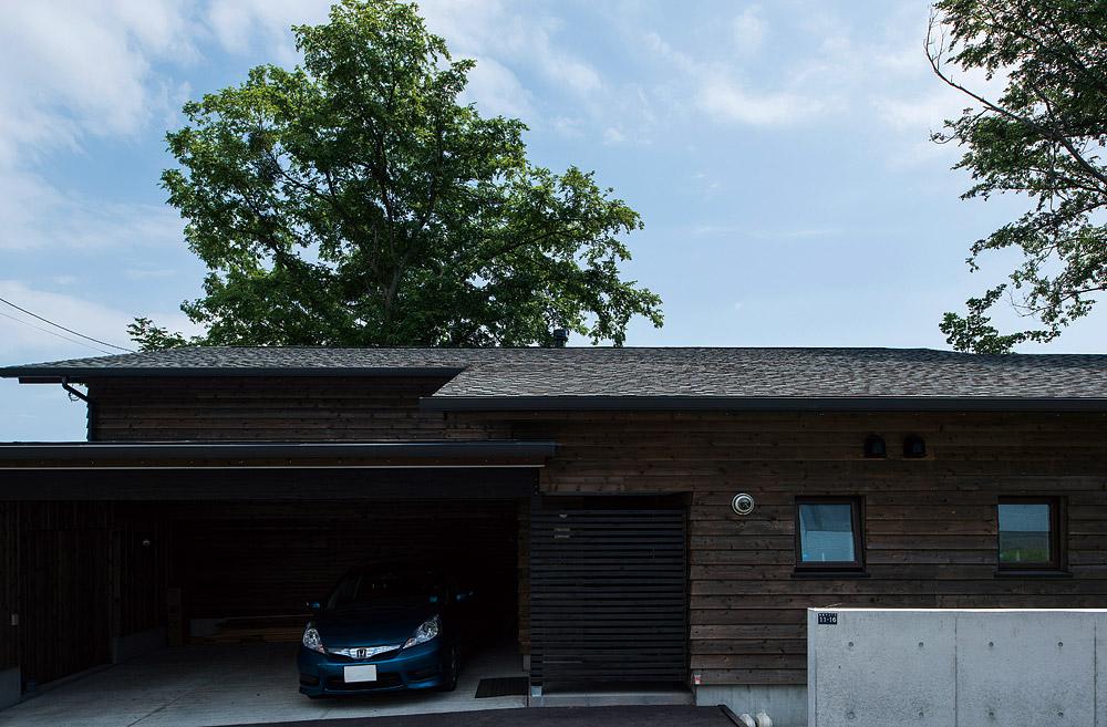 傾斜地を生かした建物は、玄関側から見ると平屋造りのよう。屋根越しにそびえるのは、庭のシンボル、ハルニレの巨木
