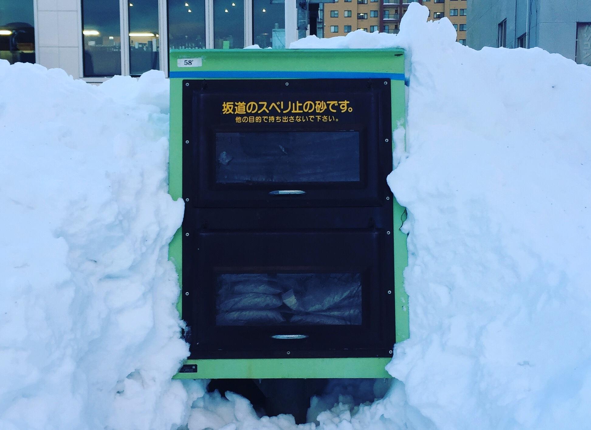 雪に埋まった常設の砂箱