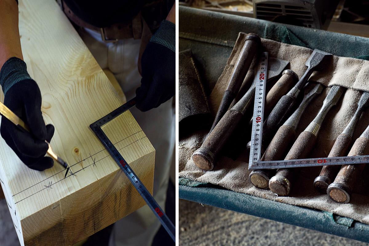 一人100本以上持っているという手道具には魂がこもっているという。仕事後には毎日手入れを欠かさない