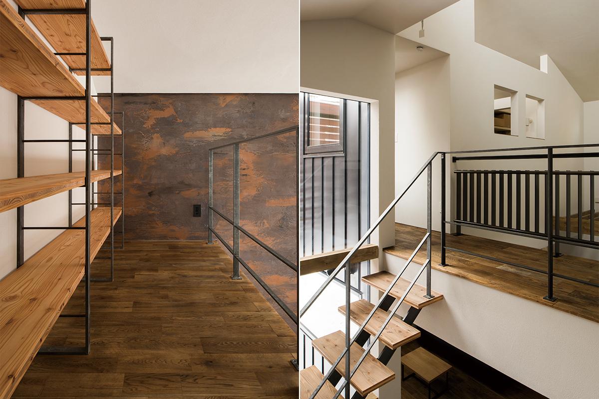 左:塗り壁による視界の楽しさ、吹き抜けの心地よさが感じられるスペース<br>右:1階と繋ぐ役割も果たす渡り廊下のような2階ホール