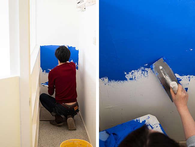 Replanのデザイナー2人も壁塗りに挑戦!