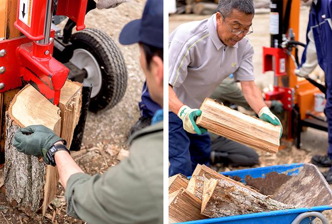 玉切りにされている丸太を薪割り機にセットして、8等分ほどにカット。割ったそばから手押し車に積んで、薪棚コーナーへ運ぶ