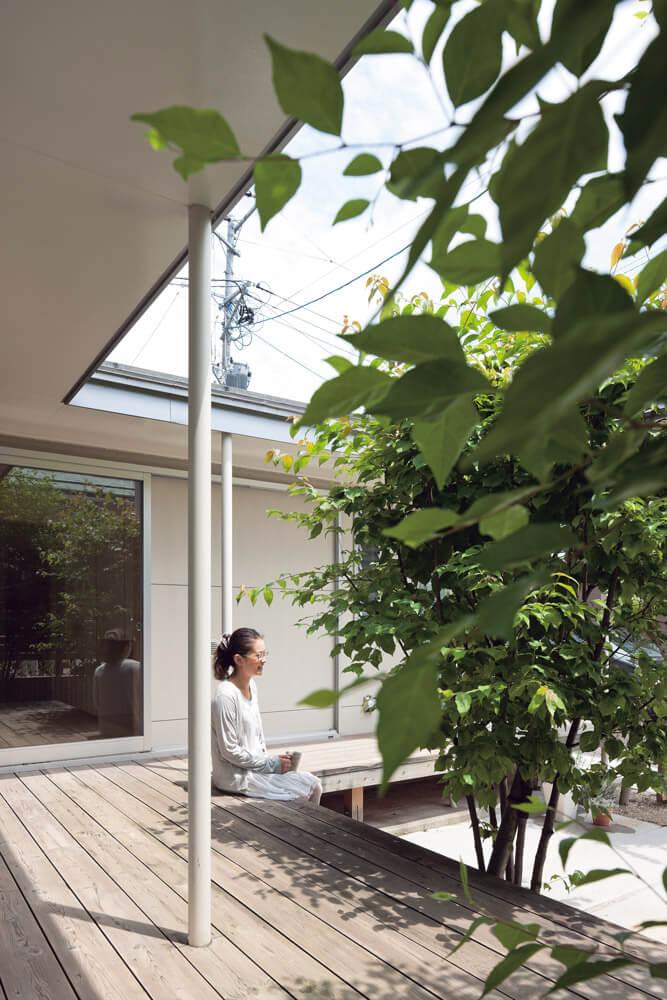 成長した木々が小さな中庭を彩り、より豊かな外部空間をつくりだしている