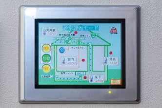 熱交換式換気扇など各機器の操作や住宅内外の温度状況がモニタリングできるファースの家専用のパネル