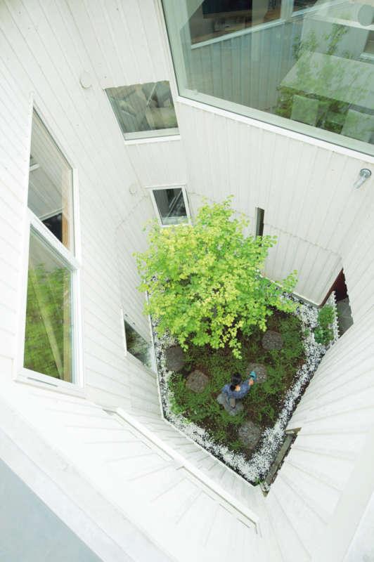 多角形の中庭が室内にさまざまな景色を生み出す