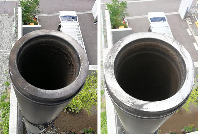 左写真がクリーニング前、右写真がクリーニング後。薪ストーブを上手に使っていると、煙突の中の煤のつき方も少なくて、クリーニングもスムーズにできる