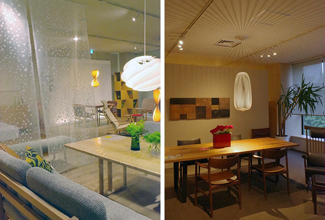 さりげなくファブリックの提案も。ペンダントライトは、シェードがつくる天井や壁の影もオモシロイ