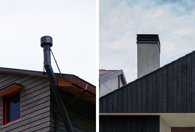 煙突のスタイルは、このように大きく分けて2つ。左写真のてっぺんに付いた円柱のパーツが陣笠。右写真では煙突の上部に付いた金物が、陣笠と同じ役割を果たす