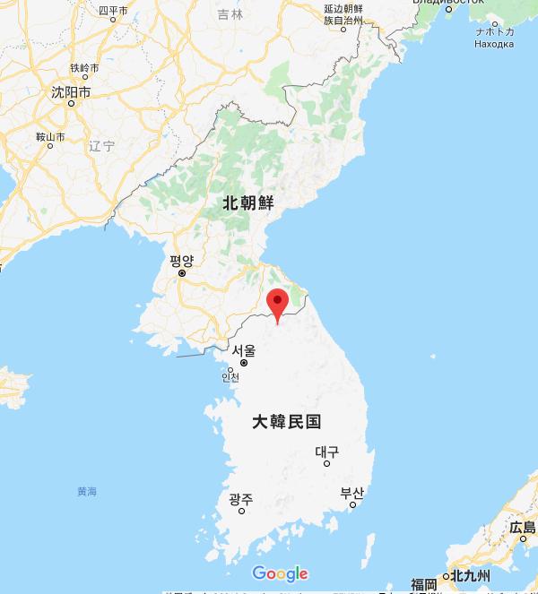 北朝鮮とはこれくらいの距離のところで、