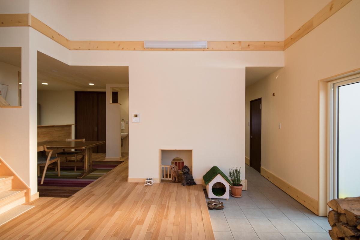 リビング土間と愛犬のスペース