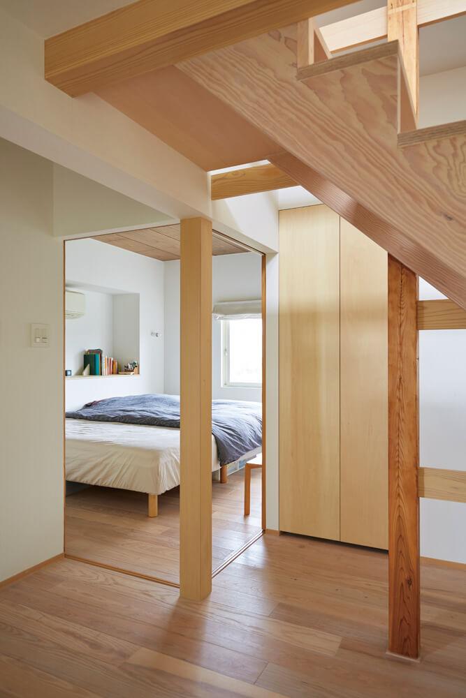 間仕切りのできる寝室