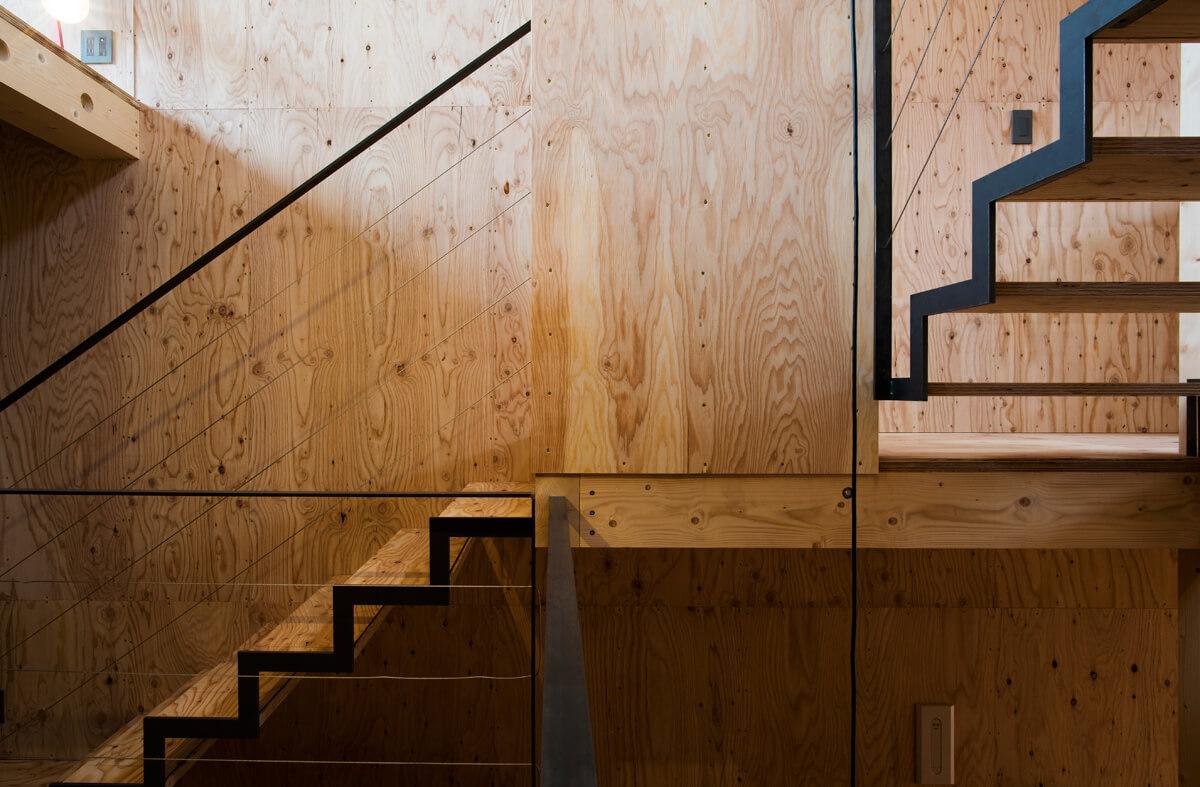 針葉樹の合板を内装に使った例