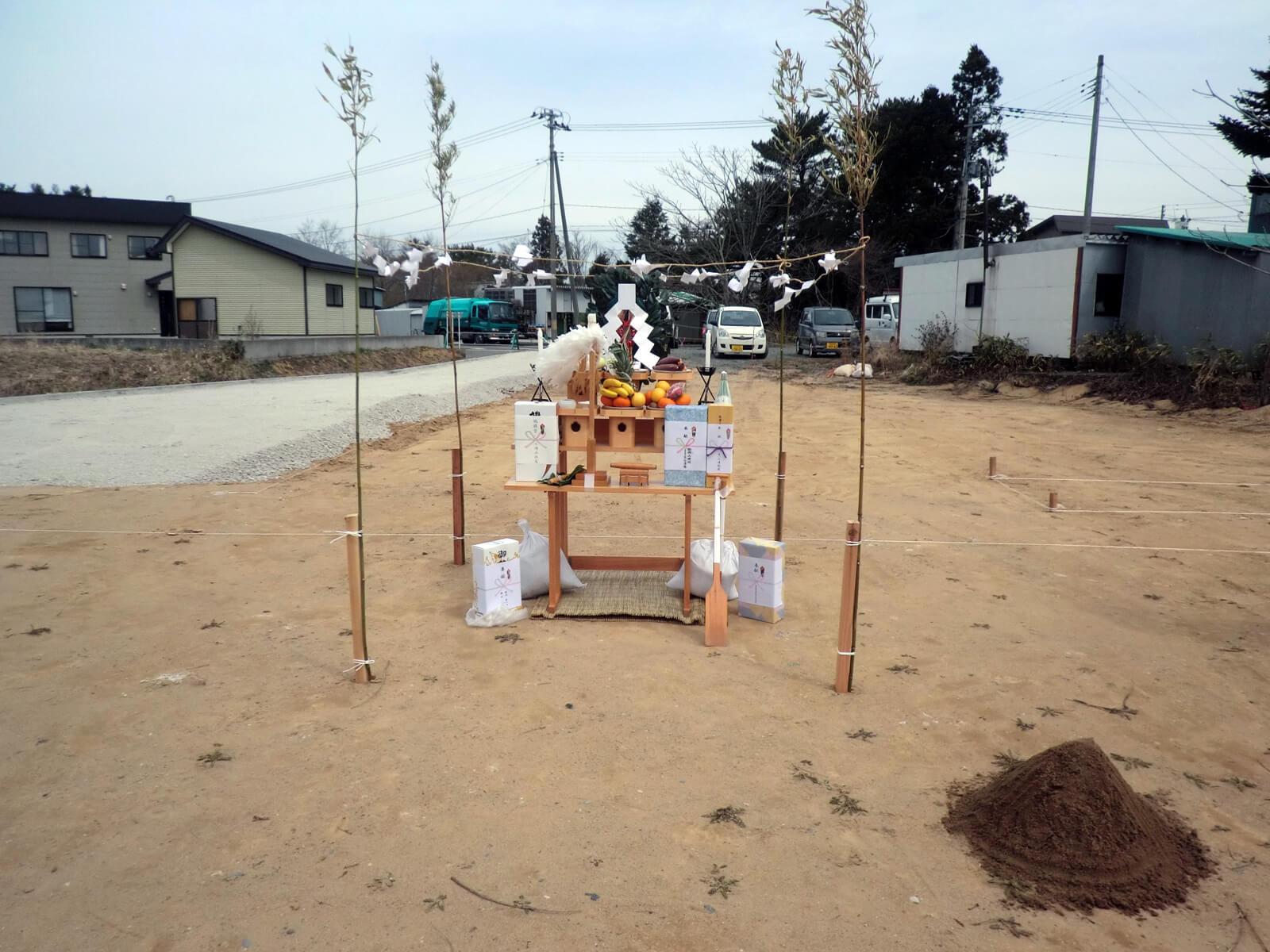 地鎮祭の飾り付けの一例