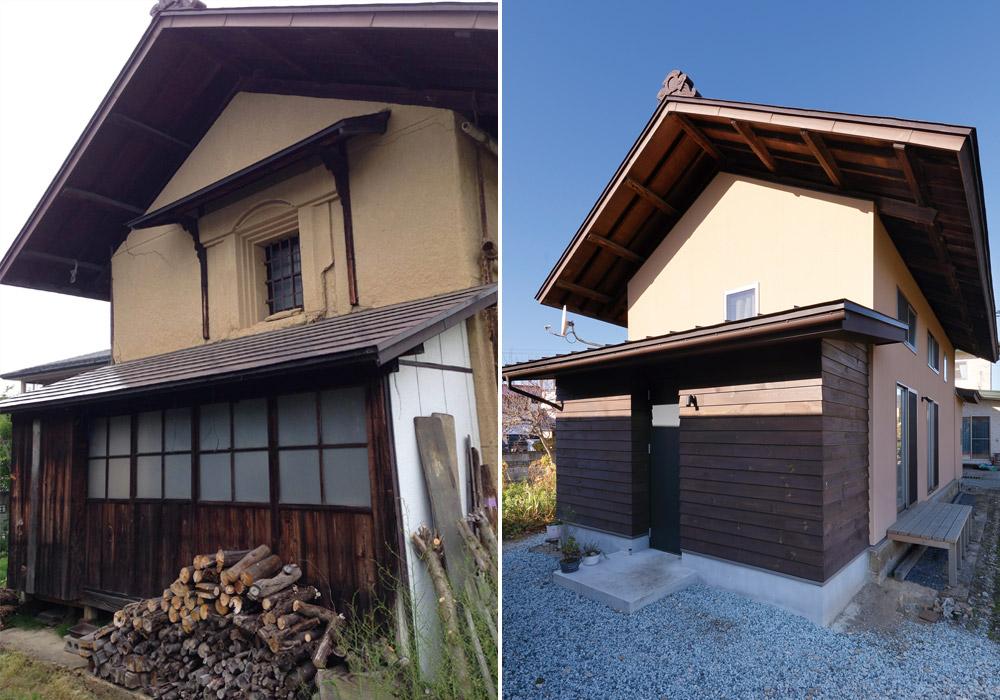 左がリノベ前、右がリノベ後。蔵正面の軒下に基礎をつくり玄関を増設。玄関まわりの外壁材には、蔵の2階の床板を再利用し、家全体の塗り壁には、元の蔵の土壁を混ぜることで色を似せ、面影を残した