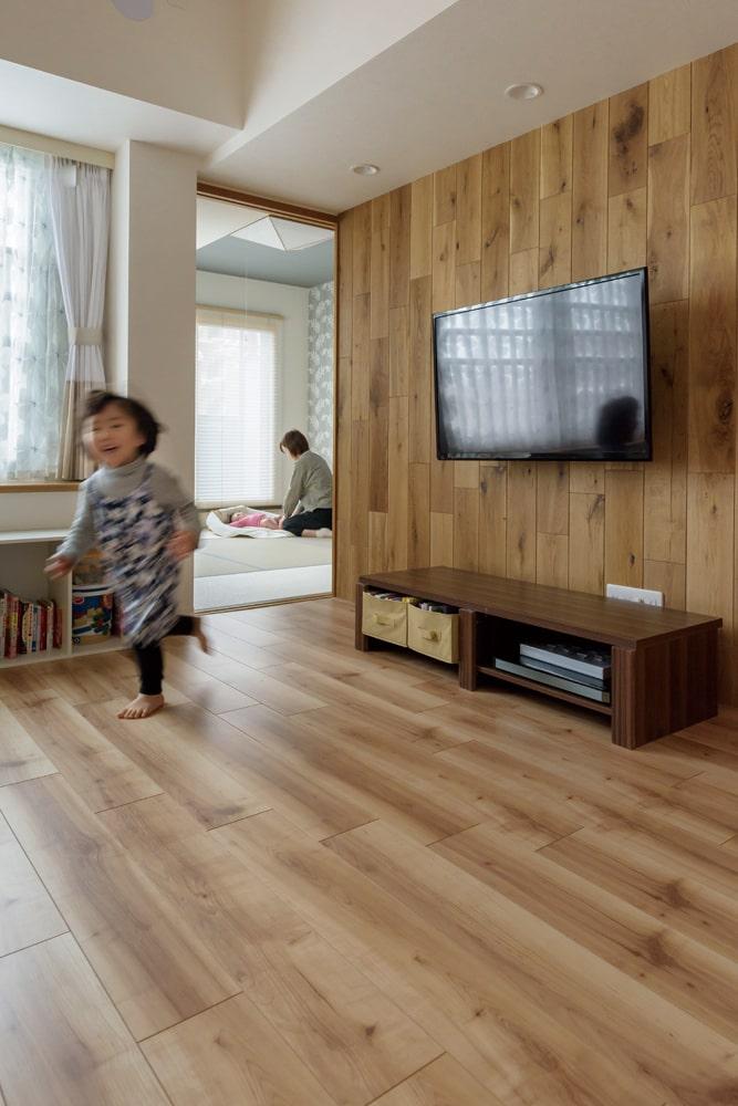 キッチンからも目が届く和室は、子どもの昼寝やプレイルームなど、多目的に利用できる