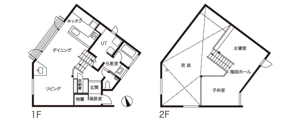 変形+斜面のある敷地のスキップフロア