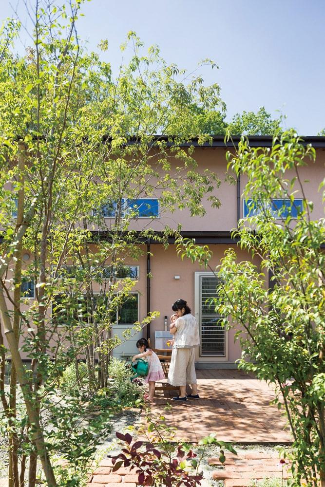 アオダモなどの木々が植えられた庭。地面とフラットなウッドデッキが、広く使い勝手の良い空間を生み出している