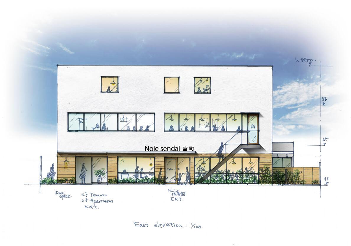 (株)のいえが運営する「のいえ保育園」の完成想像図。クリニックや賃貸住宅も併設した複合施設を予定している