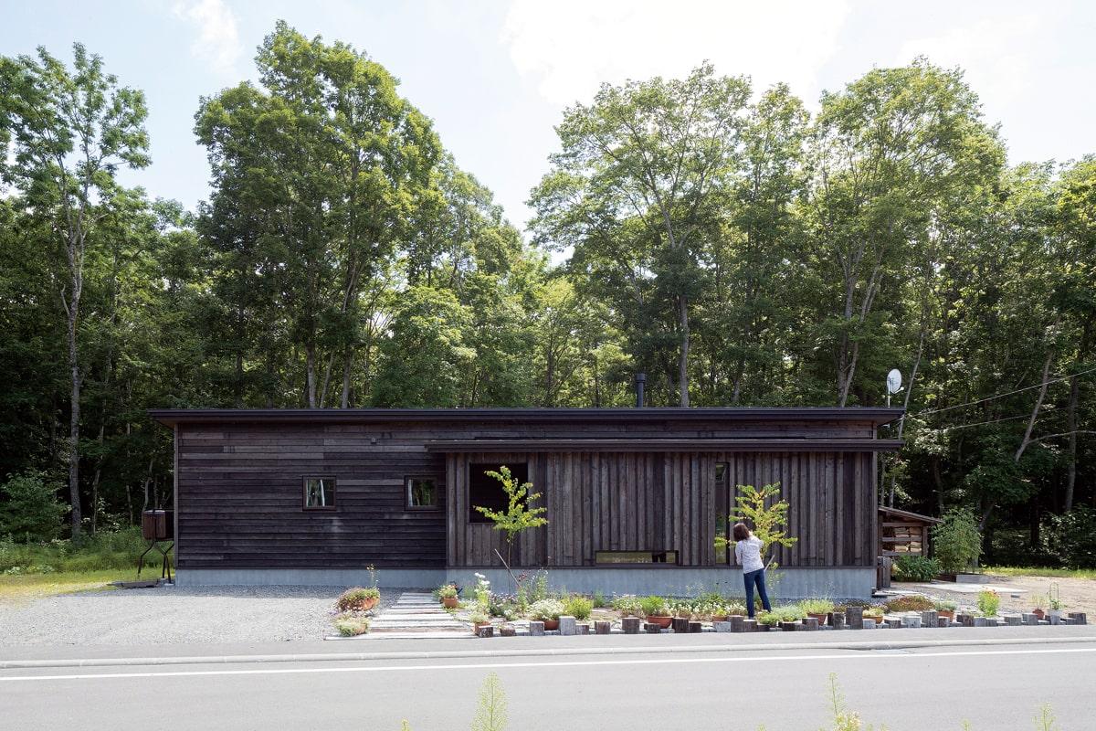 森に対し圧迫感のないよう低く建てられた平屋。外壁の道産カラマツの経年変化でよりこの場になじむ家に