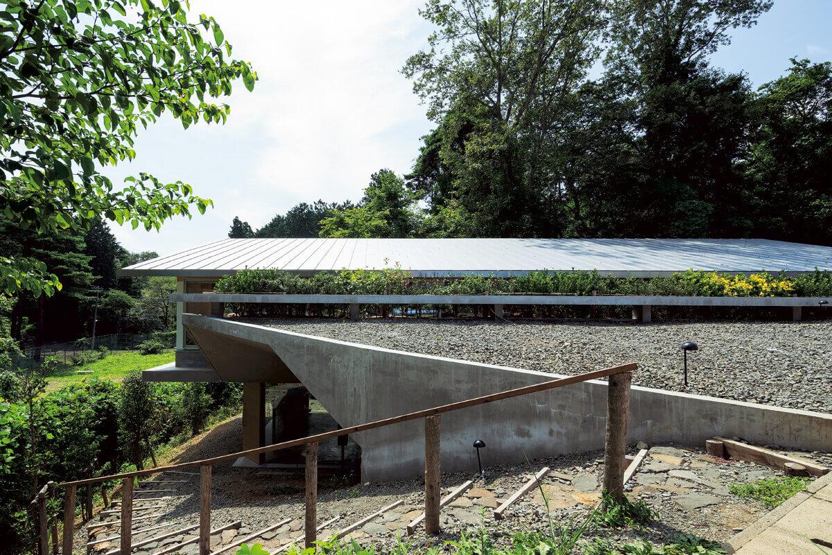 近隣住民が親しんできた景観を変えないよう設計されたのは、高低差を生かした平屋のような家。前面道路の傾斜に合わせて道なりに続くような屋根は、人の目線をその先の緑へと導く