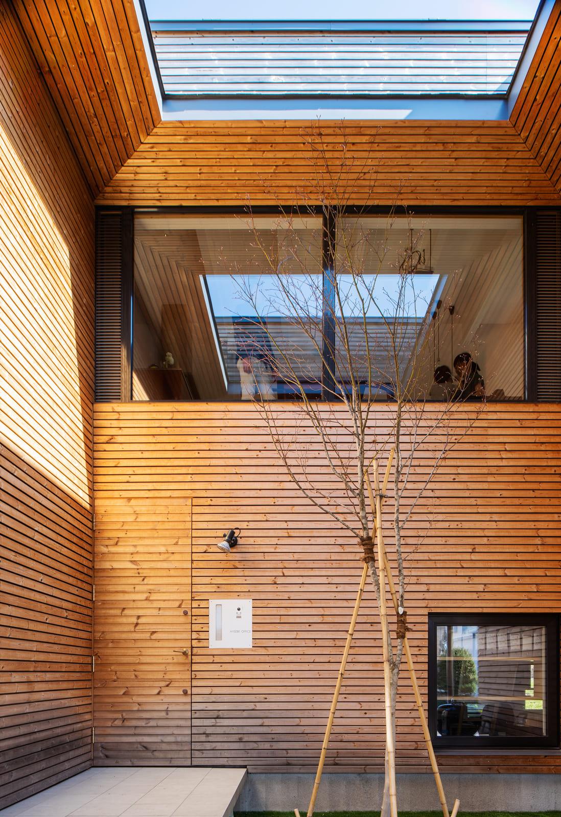 前庭上に設けた穴は、居住空間である2階へ外光を届ける天窓のような役割を果たす
