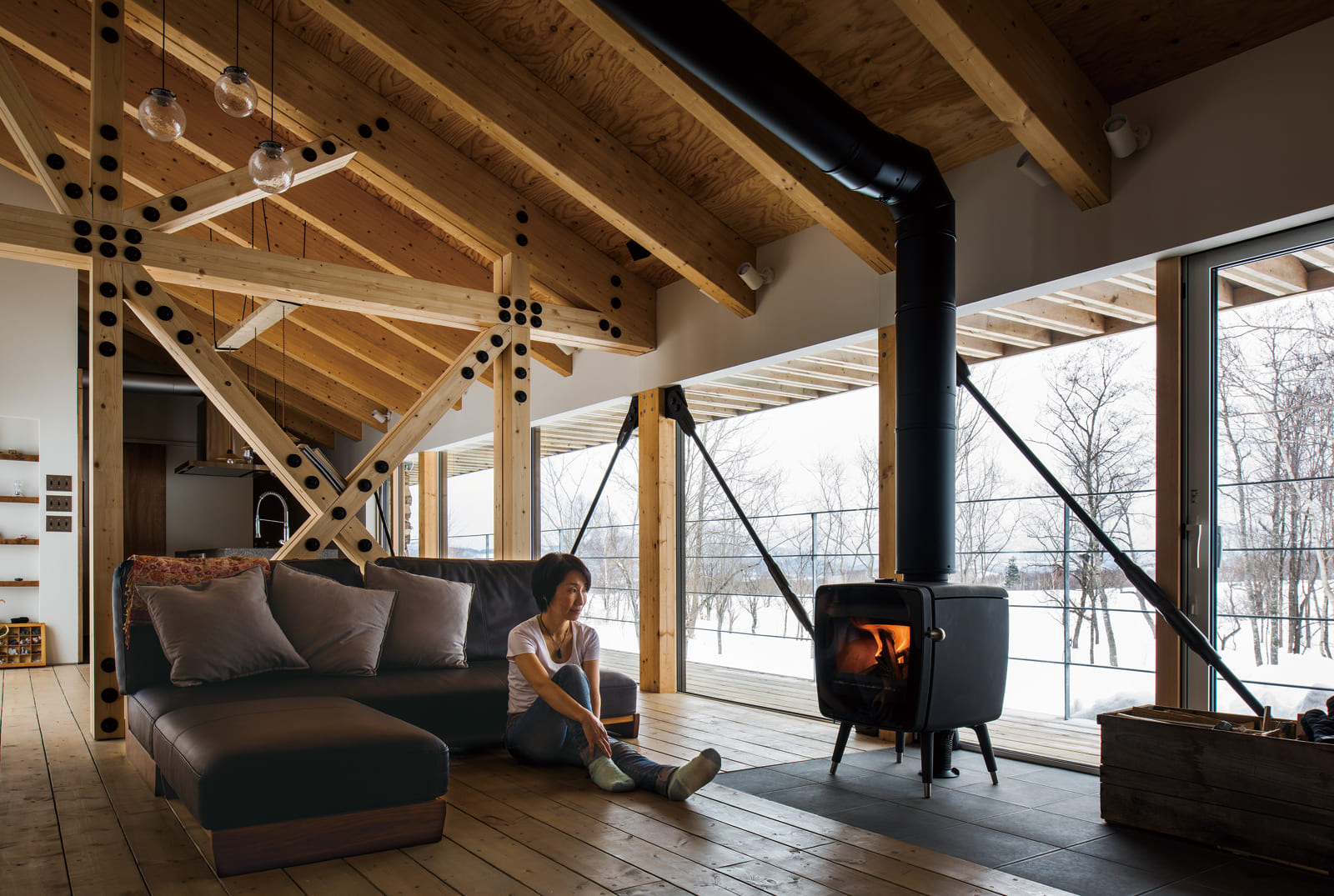 大開口があっても、室内は半袖で過ごせるほどの暖かさ