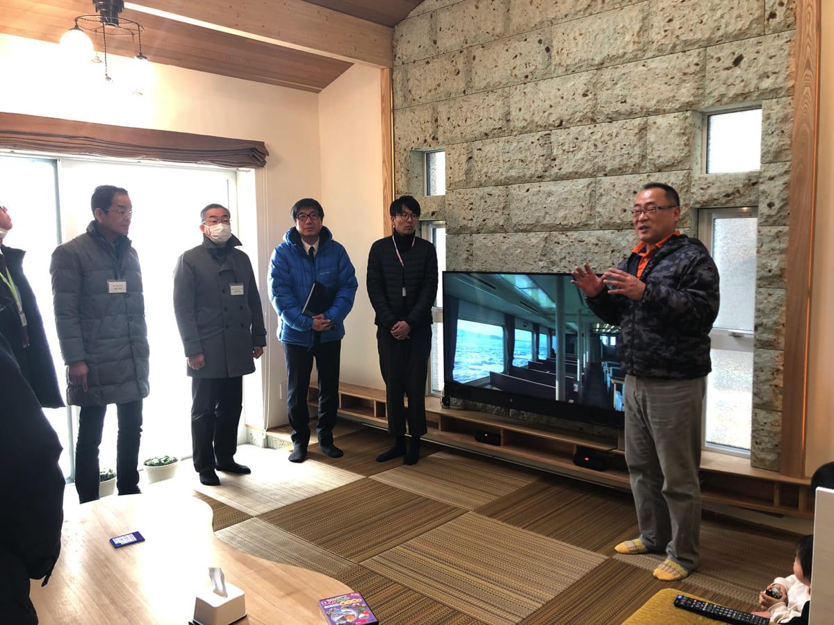 キクザワの菊澤社長自ら、モデルハウスの仕様や性能について説明してくれたよ