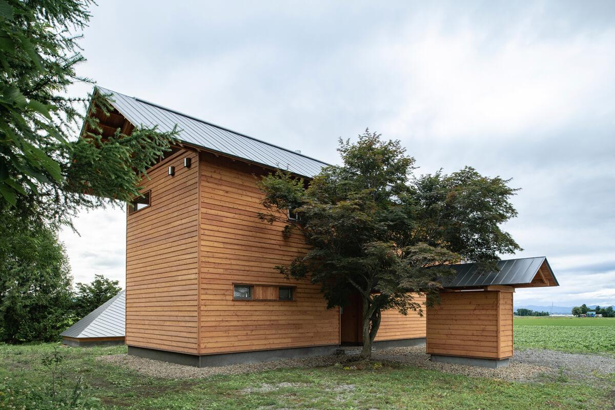 北海道産カラマツ材外壁で仕上げた総2階建て。玄関から物置まで伸びた玄関ポーチの屋根が個性的
