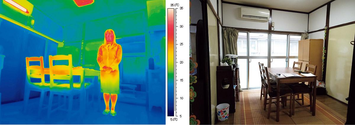 図1 日本の家は窓と床の断熱・気密性能が不足している。エアコン暖房では足元が寒いまま