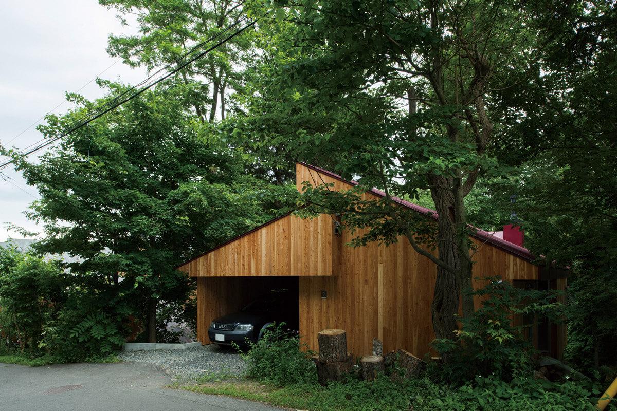 大木に囲まれた家は外壁にも木を使って自然の一部に同化させている