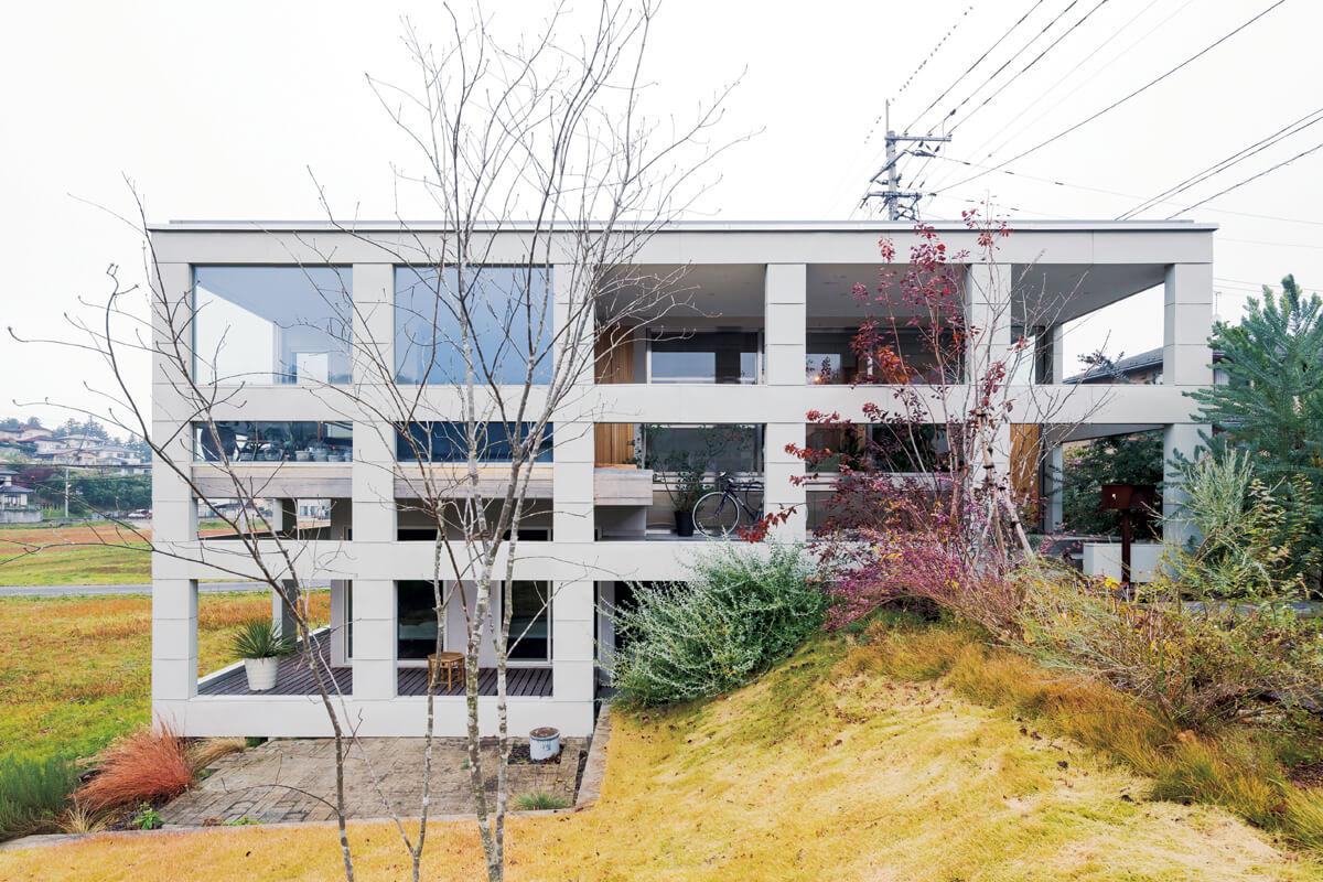 外部のフレームが目を引くこの住宅は、敷地内にある約2.5mの高低差に沿うように設計されている