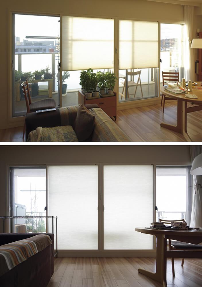 写真4 南面窓の様子<br>冬の朝は、この状態で日よけになる(上)。冬の夜はこの状態(夜の写真は反射があるので日中撮影)(下)