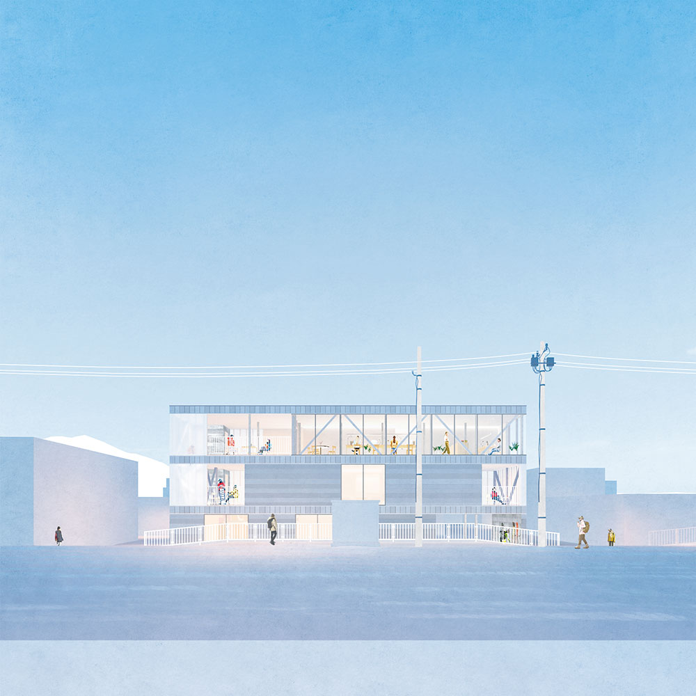 建物はシンプルでモダンな3階建て。外壁は、北海道産の木材やガラス、ポリカーボネイトという多様な素材で構成し、透明感と質感が共存する新しいスタイル
