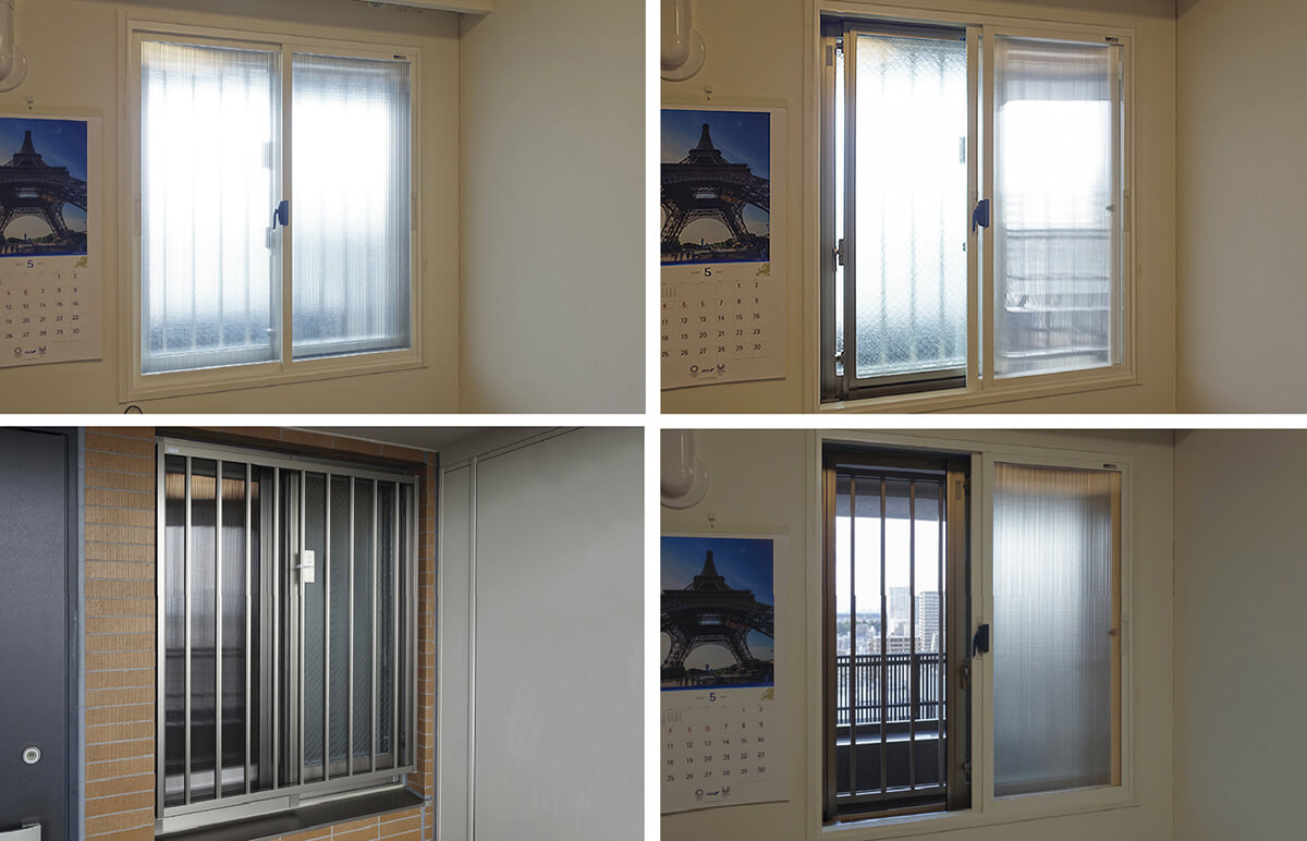 写真5  寝室の窓の様子<br>右上:内窓を通風用に開けた状態。外のアルミサッシは反対側に寄せていて、外からは覗けない<br>右下:両方とも同じ側に寄せて開けると、通風量は増えるが外から丸見え<br>左上:冬はこの状態<br>左下:通風用開放時の外観。中はまったく見えない