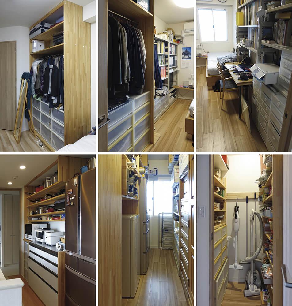 写真1  造作収納の様子<br>(上段右から)寝室2のスチール書棚、寝室2の洋服収納、寝室1の洋服収納<br>(下段右から)寝室2隣の物置内部、納戸の冷蔵庫収納棚、キッチンの鍋などを入れる収納棚
