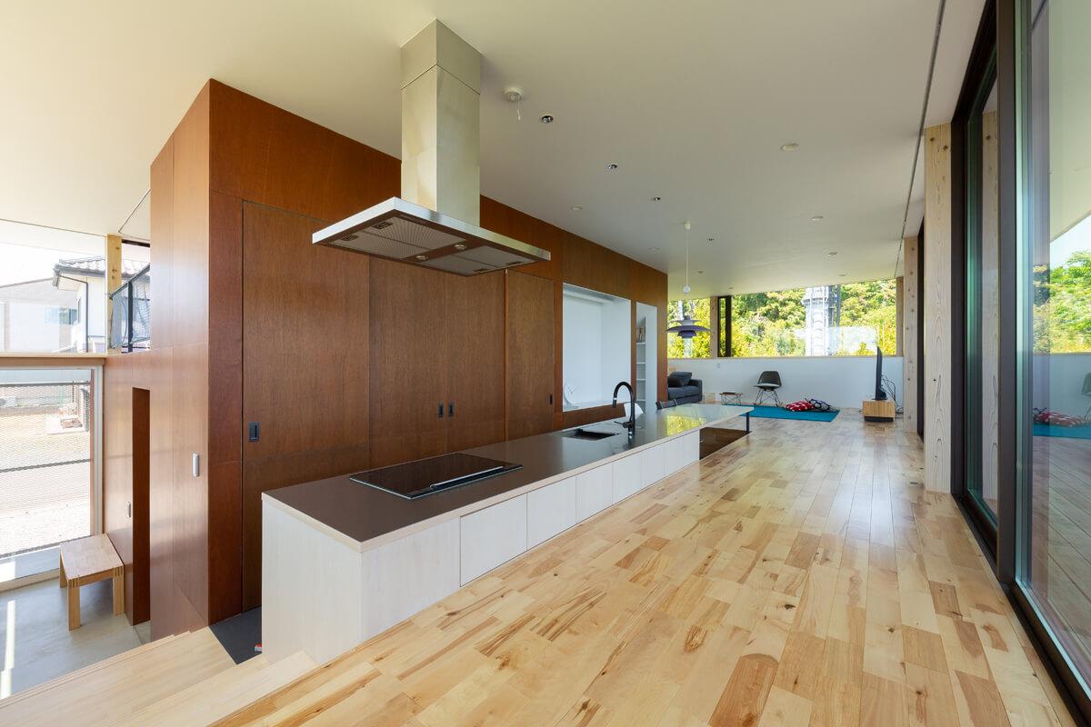 左手に玄関、右奥にリビングがある。階段状に上がっていく途中にダイニング・キッチンが置かれている