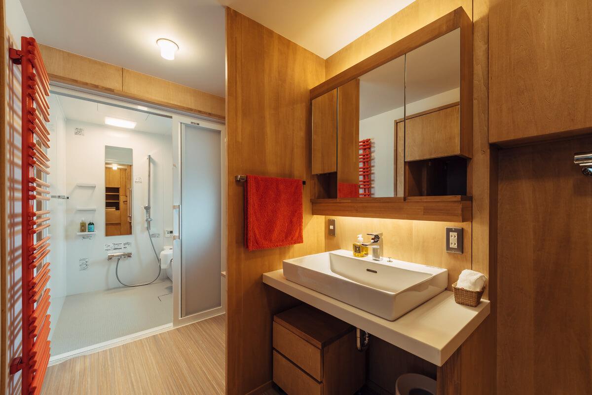 洗面脱衣室、トイレ、浴室のレイアウトとスペースは、将来の介助のしやすさも考慮