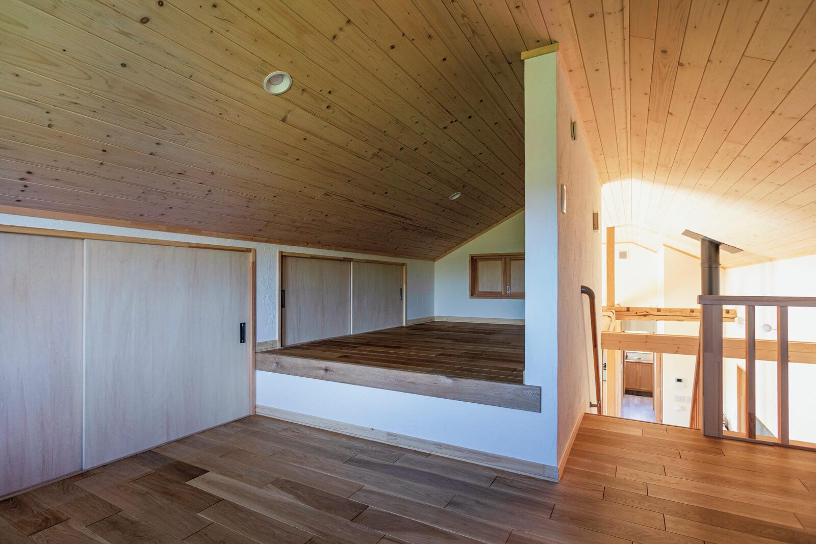 2階のロフトは旭川の高校の寮に入っている長男が帰ってきたときに寝起きする場所でもある