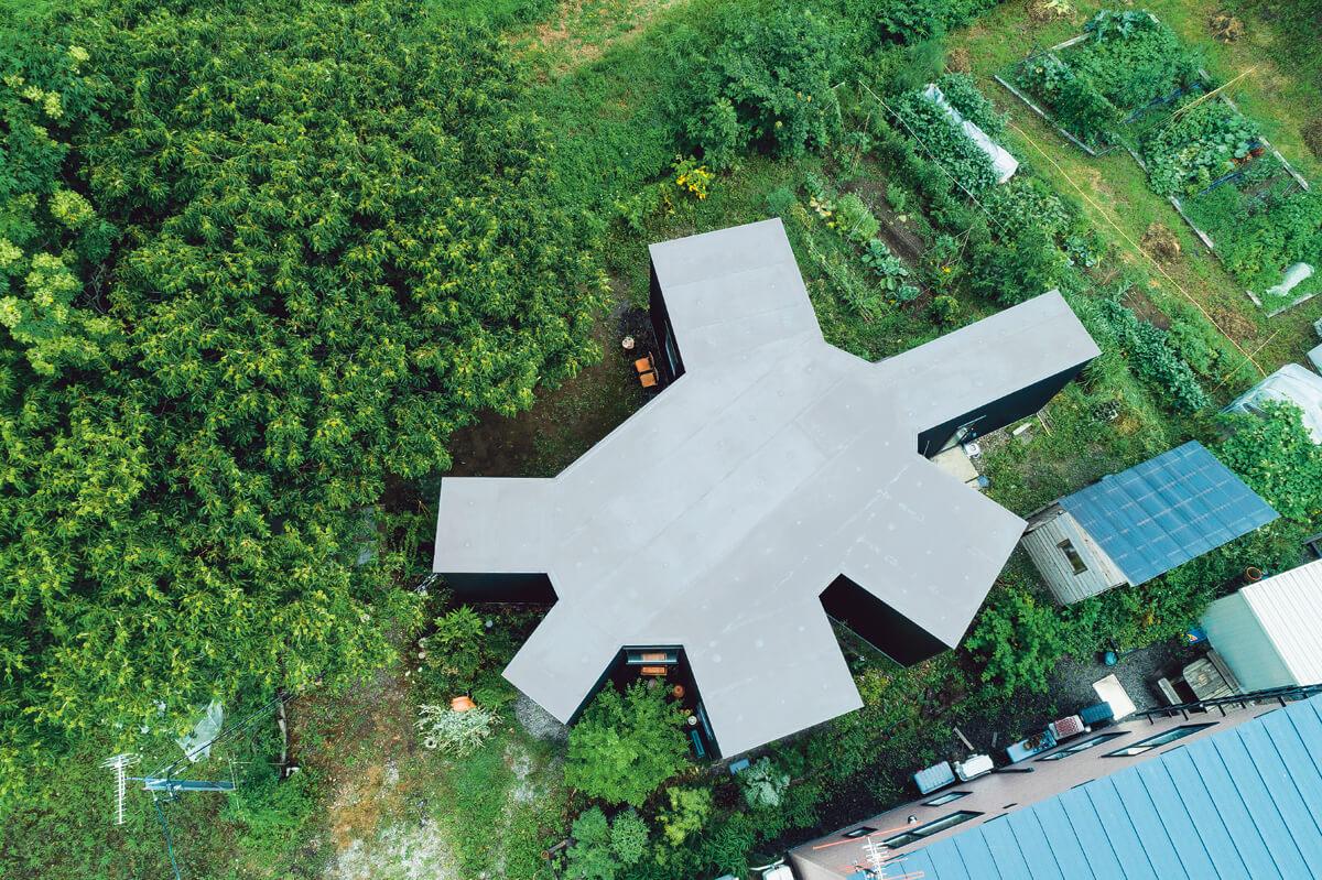 上空から見下ろすとカメのように見える個性的な外観デザインの平屋