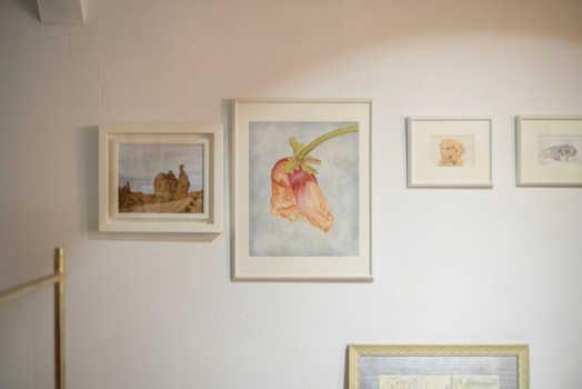 油絵やアクリルなど多彩な画風の浜地さん。アトリエの壁面では、その幅広い画風の一端を楽しむことができる