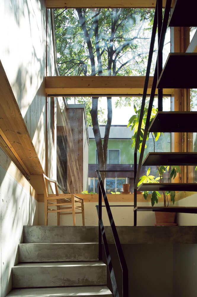 玄関を入ってすぐの階段室。吹き抜けの空間にこぼれる木漏れ日と枝葉の影 のゆらぎが心地よく、椅子に腰掛けて読書をしたり、ただぼんやりと眺めてい たくなってしまう