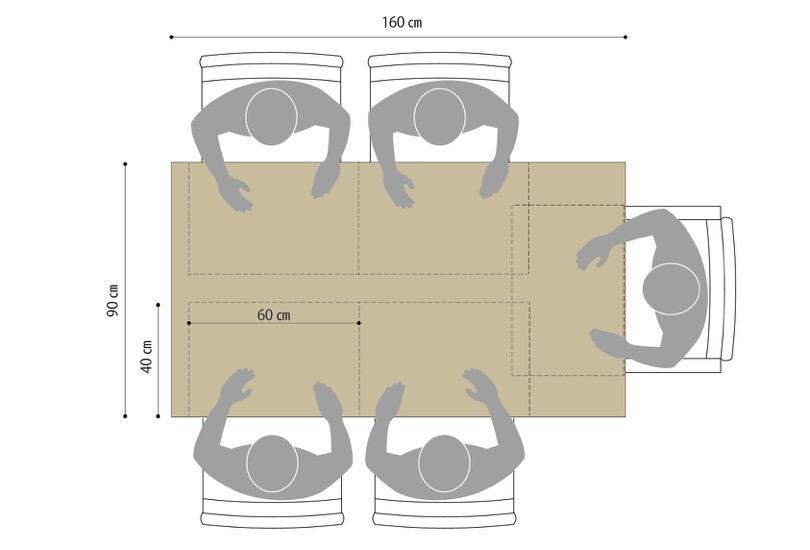 W160㎝×D90㎝のテーブルの場合のサイズ感。詰めれば5人掛けも可。奥行きにもゆとりができ、大皿などが置きやすい