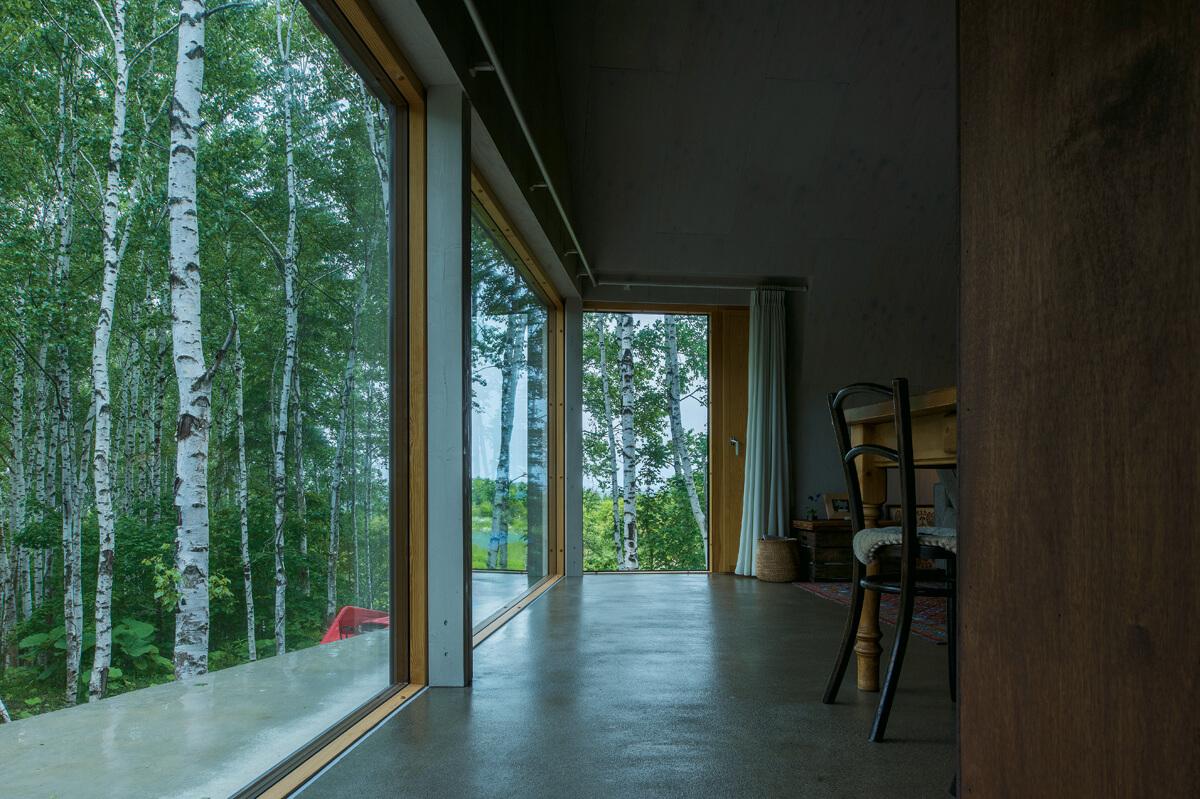 キッチン脇からリビング方向を見る。森に開けた大窓が心地よい