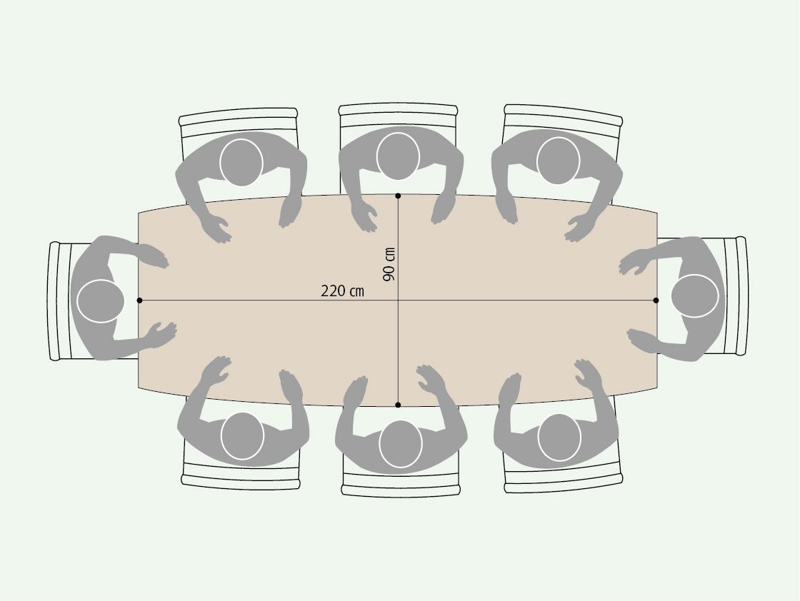 長方形の長辺を緩やかにラウンドさせた樽型テーブルを6帖の空間に配置した図。長辺側の両端に角度がついているので、自然と視線が中央に向いて全員の様子が視界に入る