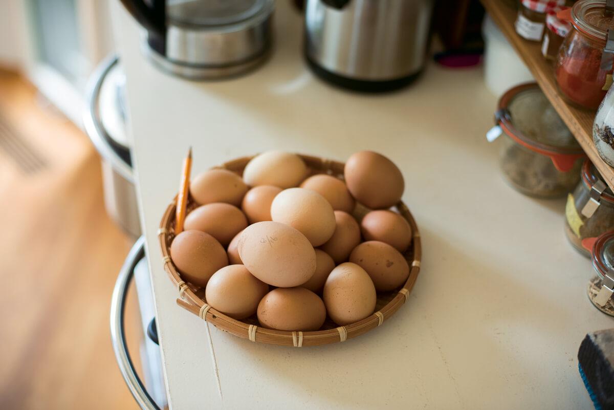 鶏が産んだ新鮮な卵たちは、シフォンケーキや卵焼きなどに変身