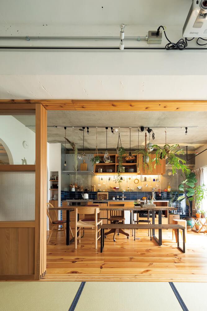 和室からはカフェのようなダイニング・キッチンが一望できる。キッチンの壁や畳の縁などところどころに用いた藍色と川上さんが大事に育てている観葉植物が空間を優しく彩る