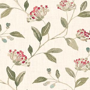 平織りのリネン混の生地にレーヨン糸で植物柄を刺繍。刺繍部分の立体感が柄を際立たせる