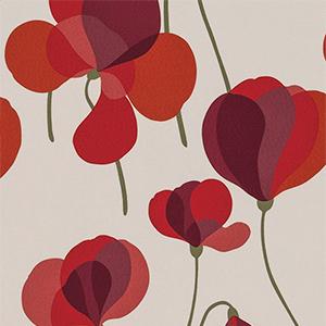 単純化された花びらが楽しい北欧テイストの花柄プリント(写真/(株)サンゲツ)