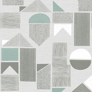 「まる・さんかく・しかく」を組み合わせた幾何学模様。透け感がある生地と不透明なプリントの対比がカーテンならではの面白さ